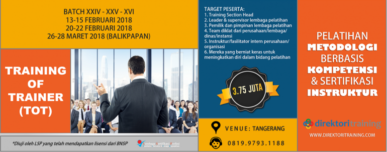 TRAINER OF TRAINER TOT BNSP 2018